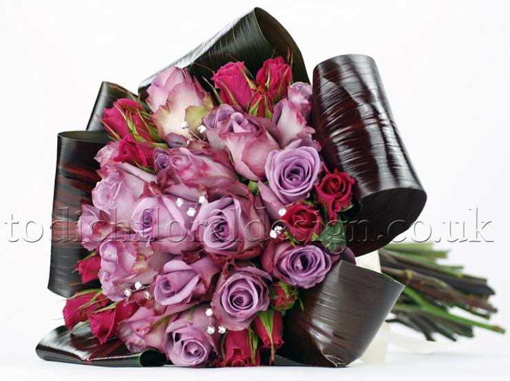 purple flowers wedding bouquet - purple roses bridal bouquet for London brides - purple wedding bouquet - wedding flower trends 2015