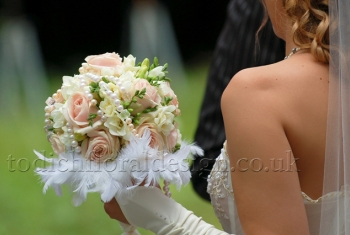 Wedding bouquet with roses and pearls, London delivery